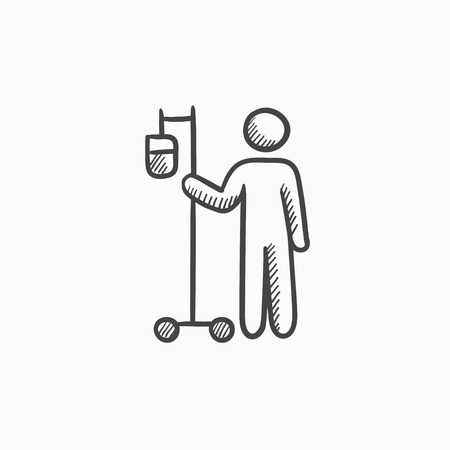 Patient and intravenous dropper vector sketch icon isolated on background. Hand drawn Patient and intravenous dropper icon. Patient and intravenous dropper sketch icon for infographic, website or app. Vettoriali