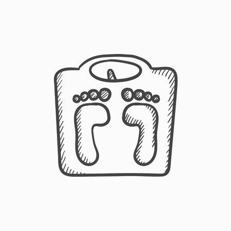 Weighing scale vector sketch icon isolated on background. Hand drawn Weighing scale icon. Weighing scale sketch icon for infographic, website or app. Ilustração