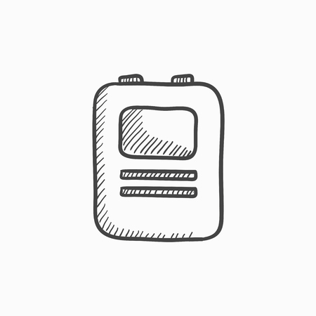 revive: Heart defibrillator vector sketch icon isolated on background. Hand drawn Heart defibrillator icon. Heart defibrillator sketch icon for infographic, website or app. Illustration