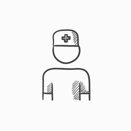 Nurse vector sketch icon isolated on background. Hand drawn Nurse icon. Nurse sketch icon for infographic, website or app. Ilustração