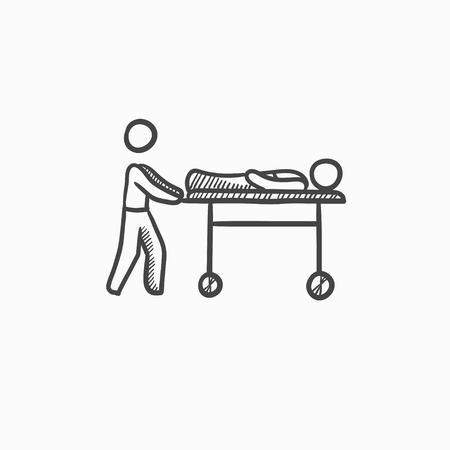 El hombre empujando camillas dibujo icono del vector aislado en el fondo. Dibujado a mano icono de hombre empujando camillas. Hombre empujando camillas dibujo icono de infografía, sitio web o aplicación.