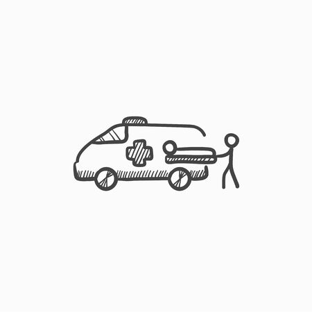 paciente en camilla: Man pushing stretcher with patient in ambulance car vector sketch icon isolated on background. Hand drawn ambulance car icon. Ambulance car and patient sketch icon for infographic, website or app. Vectores
