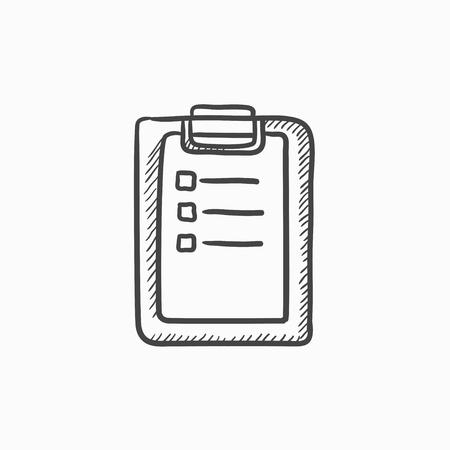 Informe médico dibujo icono del vector aislado en el fondo. Dibujado a mano icono de informe médico. Médico dibujo icono de informe de infografía, sitio web o aplicación.
