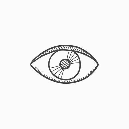 oculist: Eye vector sketch icon isolated on background. Hand drawn Eye icon. Eye sketch icon for infographic, website or app.