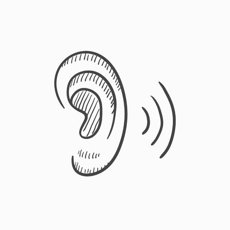 audible: Human ear vector sketch icon isolated on background. Hand drawn Human ear icon. Human ear sketch icon for infographic, website or app.