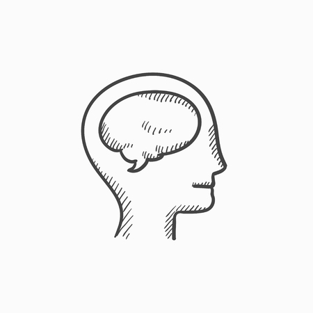neuronal: Human head with brain vector sketch icon isolated on background. Hand drawn Human head with brain icon. Human head with brain sketch icon for infographic, website or app.