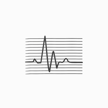 cardiogram: Heart beat cardiogram vector sketch icon isolated on background. Hand drawn Heart beat cardiogram icon. Heart beat cardiogram sketch icon for infographic, website or app. Illustration