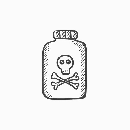 poison bottle: Bottle of poison vector sketch icon isolated on background. Hand drawn Bottle of poison icon. Bottle of poison sketch icon for infographic, website or app.