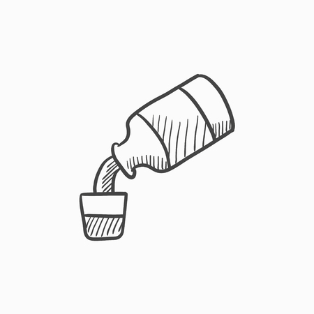 Geneeskunde en maatbeker vector schets pictogram op een achtergrond. Hand getrokken Geneeskunde en maatbeker icoon. Geneeskunde en maatbeker schets pictogram voor infographic, website of app. Stock Illustratie