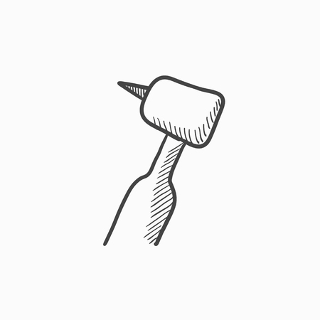 Dental drill vector sketch icon isolated on background. Hand drawn Dental drill icon. Dental drill sketch icon for infographic, website or app.