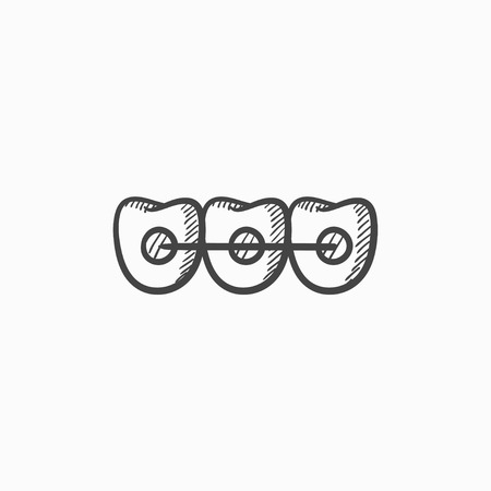 orthodontic: Orthodontic braces vector sketch icon isolated on background. Hand drawn Orthodontic braces icon. Orthodontic braces sketch icon for infographic, website or app.