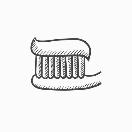 歯ブラシ歯磨き粉ベクター スケッチ アイコンの背景に分離されました。手には、歯磨き粉のアイコンで歯ブラシが描画されます。インフォ グラフ  イラスト・ベクター素材