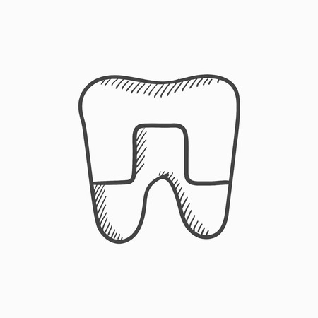 Crowned tooth vector sketch icon isolated on background. Hand drawn Crowned tooth icon. Crowned tooth sketch icon for infographic, website or app. Çizim