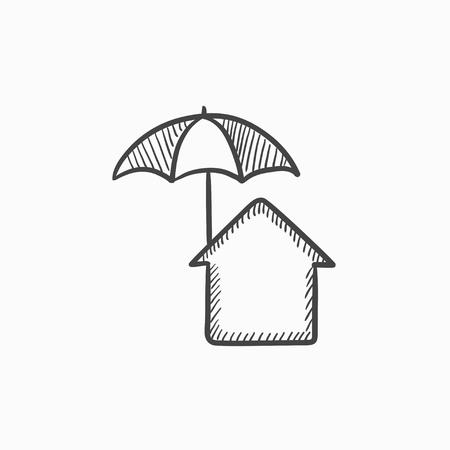 Maison sous l'icône de croquis de vecteur parapluie isolé sur fond. Maison dessiné à la main sous l'icône de parapluie. Maison sous l'icône de croquis de parapluie pour infographie, site web ou application. Banque d'images - 61247744