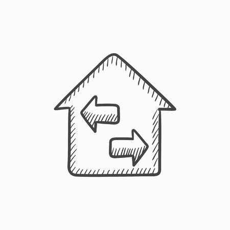resale: Property resale vector sketch icon isolated on background. Hand drawn Property resale icon. Property resale sketch icon for infographic, website or app.