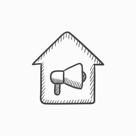 misfortune: House fire alarm vector sketch icon isolated on background. Hand drawn House fire alarm icon. House fire alarm sketch icon for infographic, website or app.