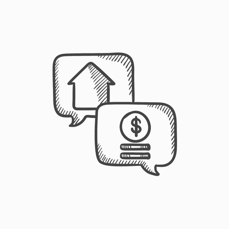 Real estate transaction vector sketch icon isolated on background. Hand drawn Real estate transaction icon. Real estate transaction sketch icon for infographic, website or app. Illusztráció