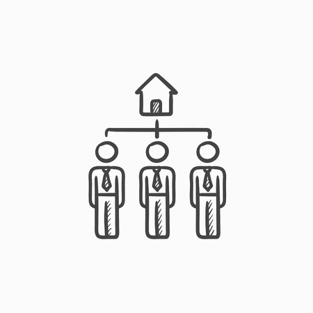 renter: Three real estate agents vector sketch icon isolated on background. Hand drawn Three real estate agents icon. Three real estate agents sketch icon for infographic, website or app.