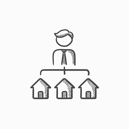 possession: Real estate agent with three houses vector sketch icon isolated on background. Hand drawn Real estate agent with houses icon. Real estate agent with houses sketch icon for infographic, website or app.