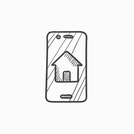mobile device: Property search on mobile device vector sketch icon isolated on background. Hand drawn Property search on mobile device icon. Property search sketch icon for infographic, website or app.