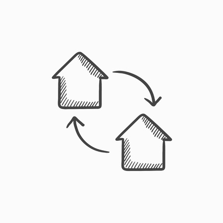 interchange: House exchange vector sketch icon isolated on background. Hand drawn House exchange icon. House exchange sketch icon for infographic, website or app.