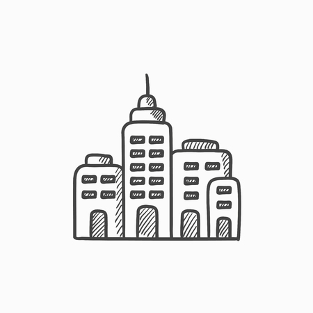 condo: Residential buildings vector sketch icon isolated on background. Hand drawn Residential buildings icon. Residential buildings sketch icon for infographic, website or app. Illustration