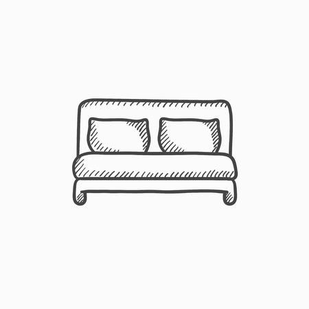 twin bed: Double bed vector sketch icon isolated on background. Hand drawn Double bed icon. Double bed sketch icon for infographic, website or app.