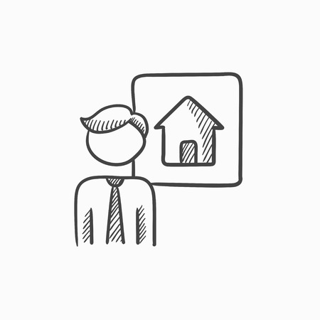 renter: Real estate agent vector sketch icon isolated on background. Hand drawn Real estate agent icon. Real estate agent sketch icon for infographic, website or app.