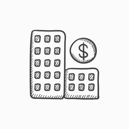 condominium: Condominium with dollar symbol vector sketch icon isolated on background. Hand drawn Condominium with dollar symbol icon. Condominium with dollar symbol sketch icon for infographic, website or app.