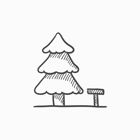 paysage: Landscape vector sketch icon isolated on background. Hand drawn Landscape icon. Landscape sketch icon for infographic, website or app.