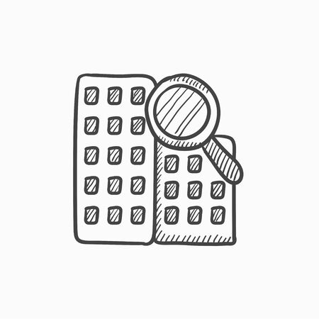 condo: Condominium and magnifying glass vector sketch icon isolated on background. Hand drawn Condominium and magnifying glass icon. Condominium and magnifier sketch icon for infographic, website or app.