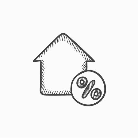 hand tag: House with discount tag vector sketch icon isolated on background. Hand drawn House with discount tag icon. House with discount tag sketch icon for infographic, website or app. Illustration