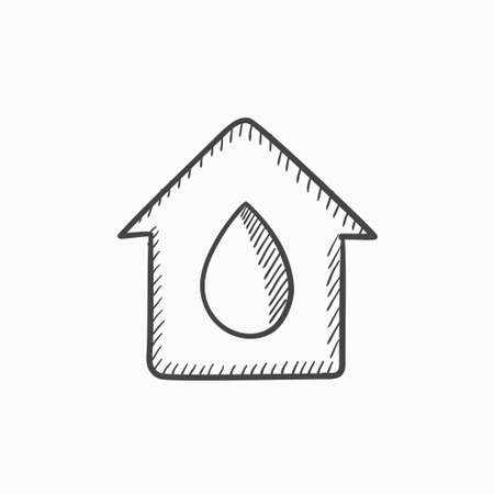 condo: House with water drop vector sketch icon isolated on background. Hand drawn House with water drop icon. House with water drop sketch icon for infographic, website or app.