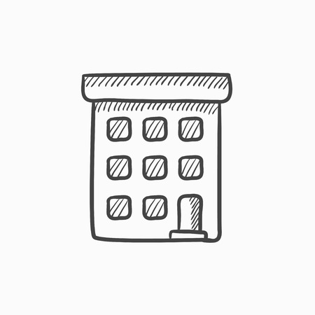 building sketch: Condominium building vector sketch icon isolated on background. Hand drawn Condominium building icon. Condominium building sketch icon for infographic, website or app.