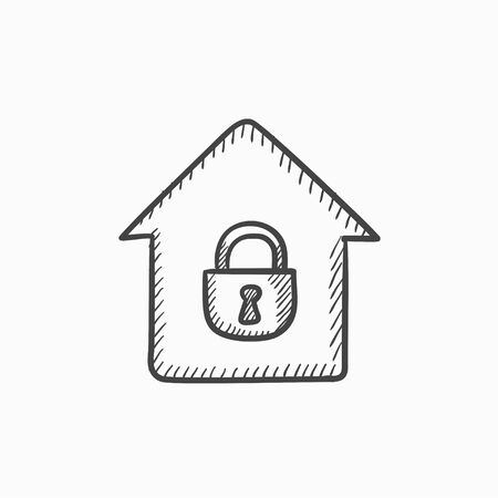 condo: House with closed lock vector sketch icon isolated on background. Hand drawn House with closed lock icon. House with closed lock sketch icon for infographic, website or app.