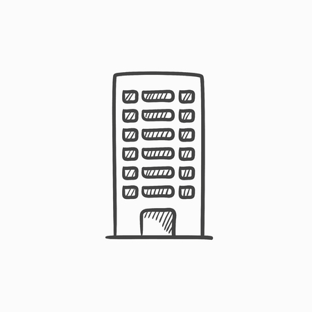 multi storey: Residential building vector sketch icon isolated on background. Hand drawn Residential building icon. Residential building sketch icon for infographic, website or app. Illustration