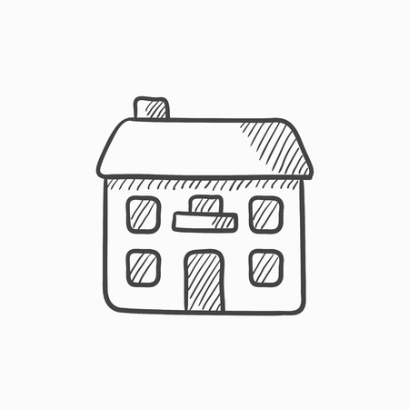detached house: Two storey detached house vector sketch icon isolated on background. Hand drawn Two storey detached house icon. Two storey detached house sketch icon for infographic, website or app. Illustration