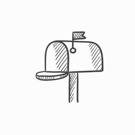 Mail box vector sketch icon isolated on background. Hand drawn Mail box icon. Mail box sketch icon for infographic, website or app. Vettoriali