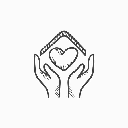 hands holding house: Hands holding house with heart vector sketch icon isolated on background. Hand drawn Hands holding house with heart icon. Hands holding house with heart sketch icon for infographic, website or app.