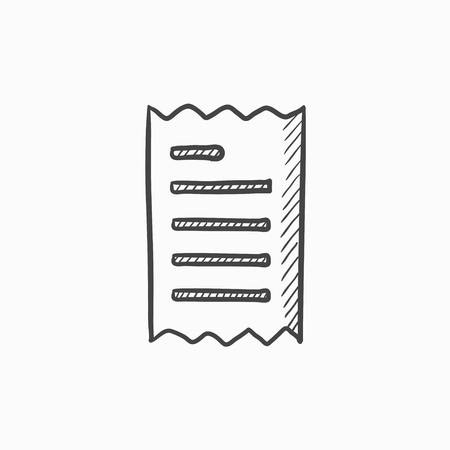 receipt: Receipt vector sketch icon isolated on background. Hand drawn Receipt icon. Receipt sketch icon for infographic, website or app. Illustration
