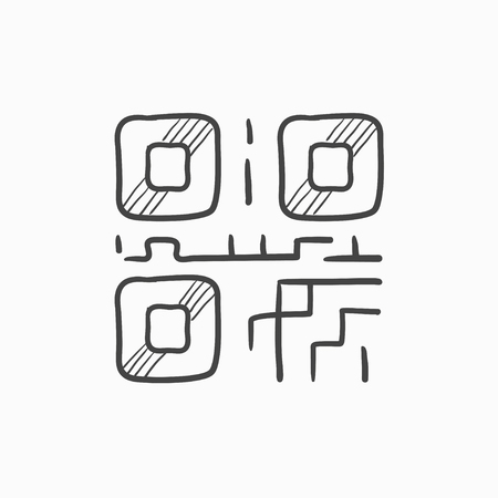 quick response: QR code vector sketch icon isolated on background. Hand drawn QR code icon. QR code sketch icon for infographic, website or app. Illustration
