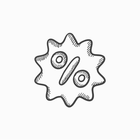 Discount tag vector sketch icon isolated on background. Hand drawn Discount tag icon. Discount tag sketch icon for infographic, website or app. Illustration