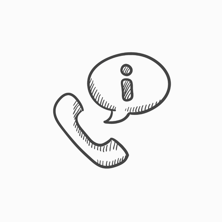handset: Handset with information sign vector sketch icon isolated on background. Hand drawn Handset with information sign icon. Handset with information sign sketch icon for infographic, website or app.