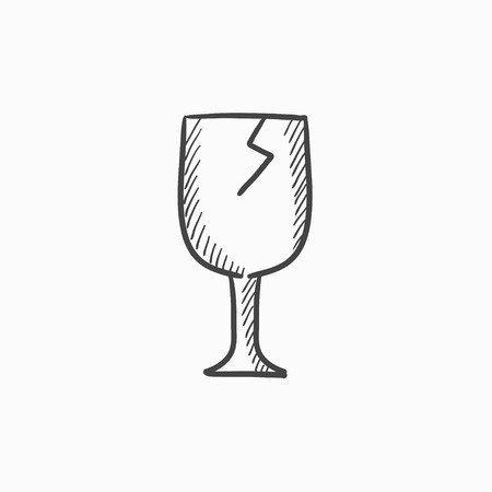 breakable: Cracked glass vector sketch icon isolated on background. Hand drawn Cracked glass icon. Cracked glass sketch icon for infographic, website or app.
