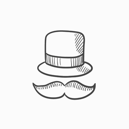 male symbol: Hat and mustache vector sketch icon isolated on background. Hand drawn Hat and mustache icon. Hat and mustache sketch icon for infographic, website or app. Illustration