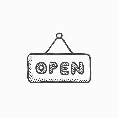 open sign: Open sign vector sketch icon isolated on background. Hand drawn Open sign icon. Open sign sketch icon for infographic, website or app. Illustration