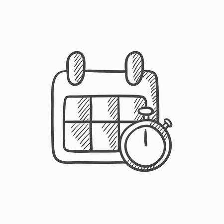 Calendario y cronómetro dibujo icono del vector aislado en el fondo. dibujado a mano y el icono Calendario cronómetro. Calendario y dibujo icono de cronómetro para la infografía, sitio web o aplicación.