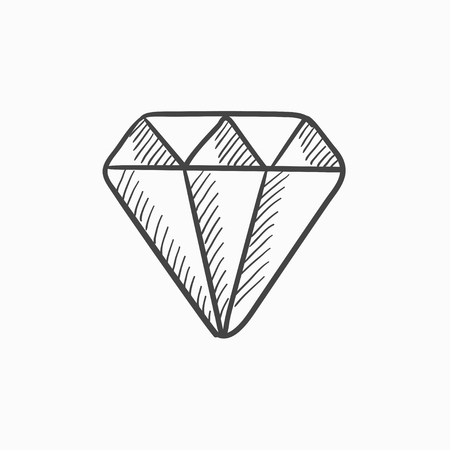 glistening: Diamond vector sketch icon isolated on background. Hand drawn Diamond icon. Diamond sketch icon for infographic, website or app.