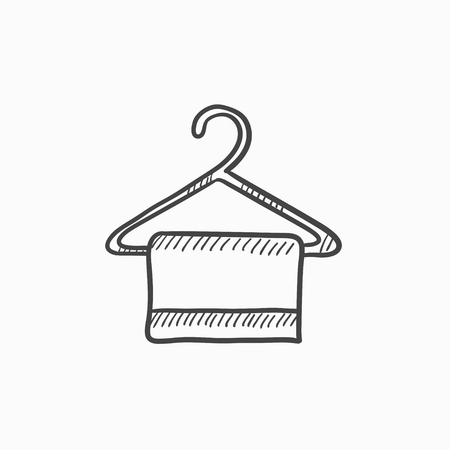 Towel on hanger vector sketch icon isolated on background. Hand drawn Towel on hanger icon. Towel on hanger sketch icon for infographic, website or app. Ilustrace