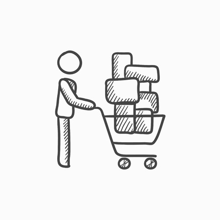 장바구니를 추진하는 사람 (남자). 벡터 스케치 아이콘 배경에 고립. 손으로 그린 쇼핑 카트 아이콘을 추진하는 사람. infographic, 웹 사이트